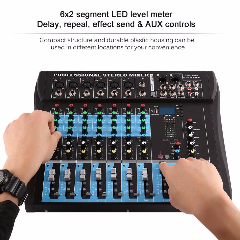 CT8 8 Channel Professional Stereo Mixer Live USB Studio Audio Sound Console Network Anchor Device Vocal Effect Processor professional 4 channel live mixing studio audio sound console network anchor portable mixing device vocal effect processor