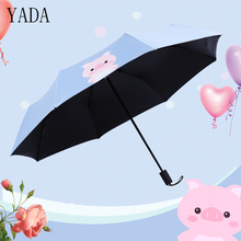 YADA Cartoon Pig Charms Folding Umbrella Rain Women uv High Quality For Womens Brand Windproof Children Umbrellas YS218