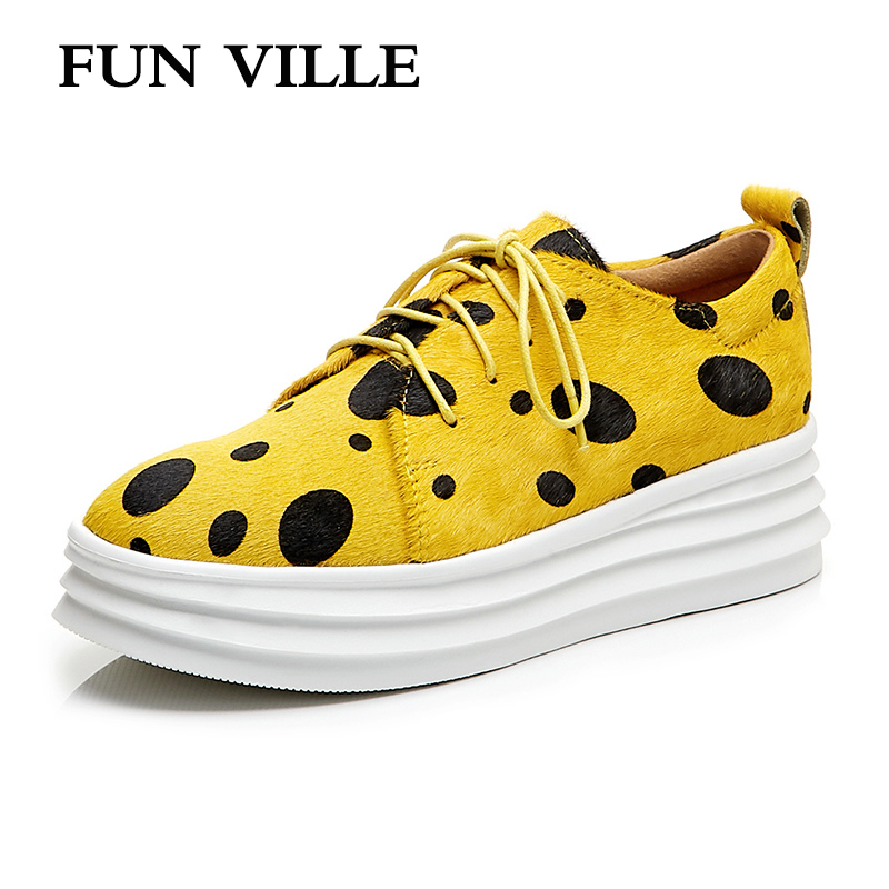 FUN VILLE New Fashion Women Flat Shoes Spring Autumn Shoes Horsehair Thick Platform Casual shoes Female Flats Round Toe Slip on