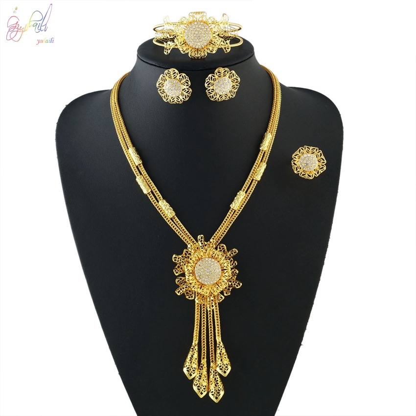 YULAILI Bridal Gift Nigerian Wedding Fashion African Beads Jewelry Set Dubai Pure Gold Color Costume Design Accessories yulaili new coming pure yellow flower bridal wedding jewelry set nigerian ladies party wedding accessories