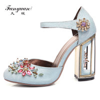 Fanyuan Black Crystal Women Embellished Velvet Strange High Heel Sandals Sexy Peep Toe Ankle Strap Rhinestones Gladiator Shoes
