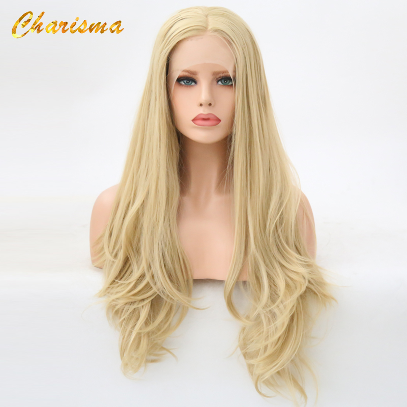 Charisma Synthetic Lace Front Wigs 26 Inch Blonde Color With Middle Part Wigs Heat Resistant Glueless 150%Density Wigs For Women