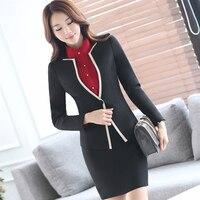 Lenshin 2 Piece Set Contrast Color Binding Formal Skirt Suit Office Lady Uniform Design Women Business Jacket and Skirt for Work