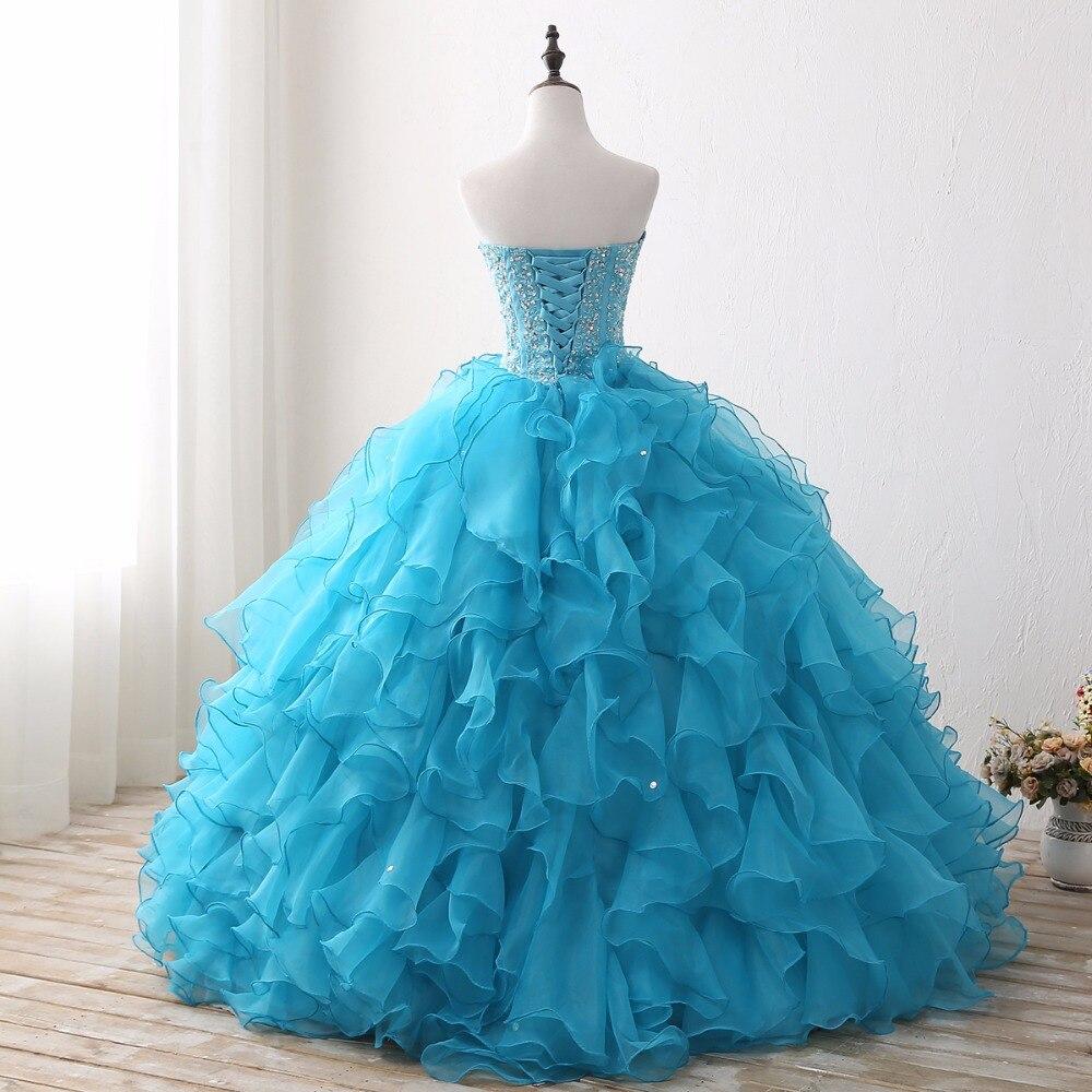 679b6c9d9 Sexy Quinceañera hinchado vestidos Real azul sin mangas abierto de tul de  longitud piso dulce 16
