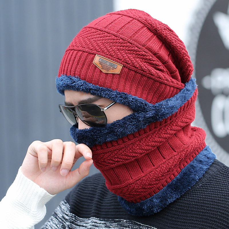 hot selling 2pcs ski cap and scarf cold warm leather winter hat for women men Knitted hat Bonnet Warm Cap Skullies Beanies 3