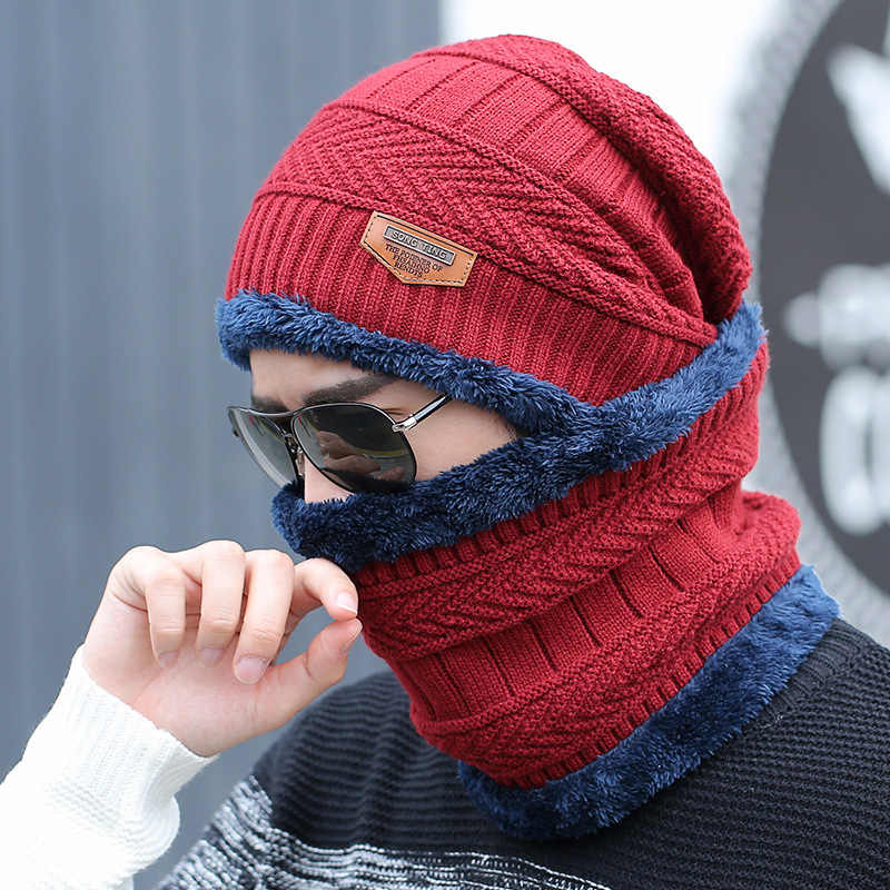 7a8e45f6c13 ... YYMM hot selling 2pcs ski cap and scarf cold warm leather winter hat  for women men ...