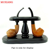 Muxiang good kwaliteit pijp accessoires zwart massief hout demontabel romaanse verticale type 2 pijp rekken fa0036