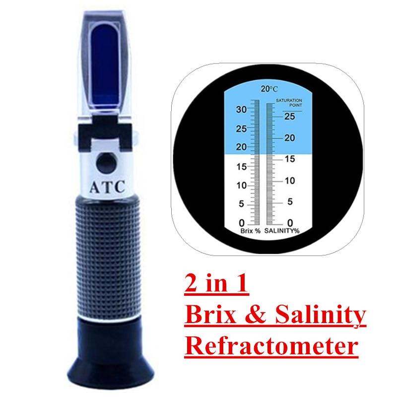 2 dans 1 Brix et Salinité Réfractomètre w/ATC 2 échelle 0-32% Brix et 0-28% salinité Mesure Chlorure De Sodium en Sel des Aliments fruits 40% Off