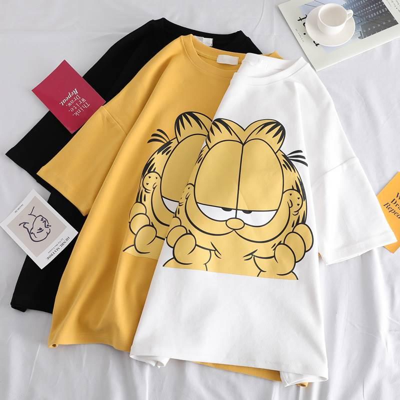Garfield Short-sleeved T-shirt Female Summer Dress 2019 New Super Fire Loose Half-sleeved Jacket Clothes Women's  Tide