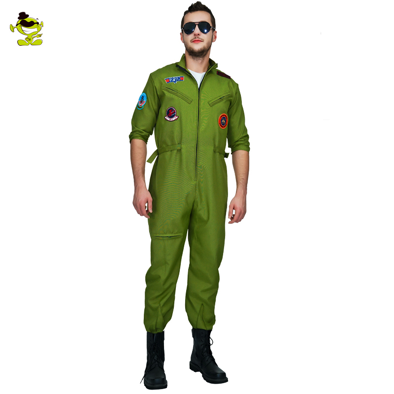 Men's  Pilot Airman Costume Halloween Party Cosplay Top Gun Jumpsuit Anime Cosplay Airman  Role Play Pilot Airman Costumes