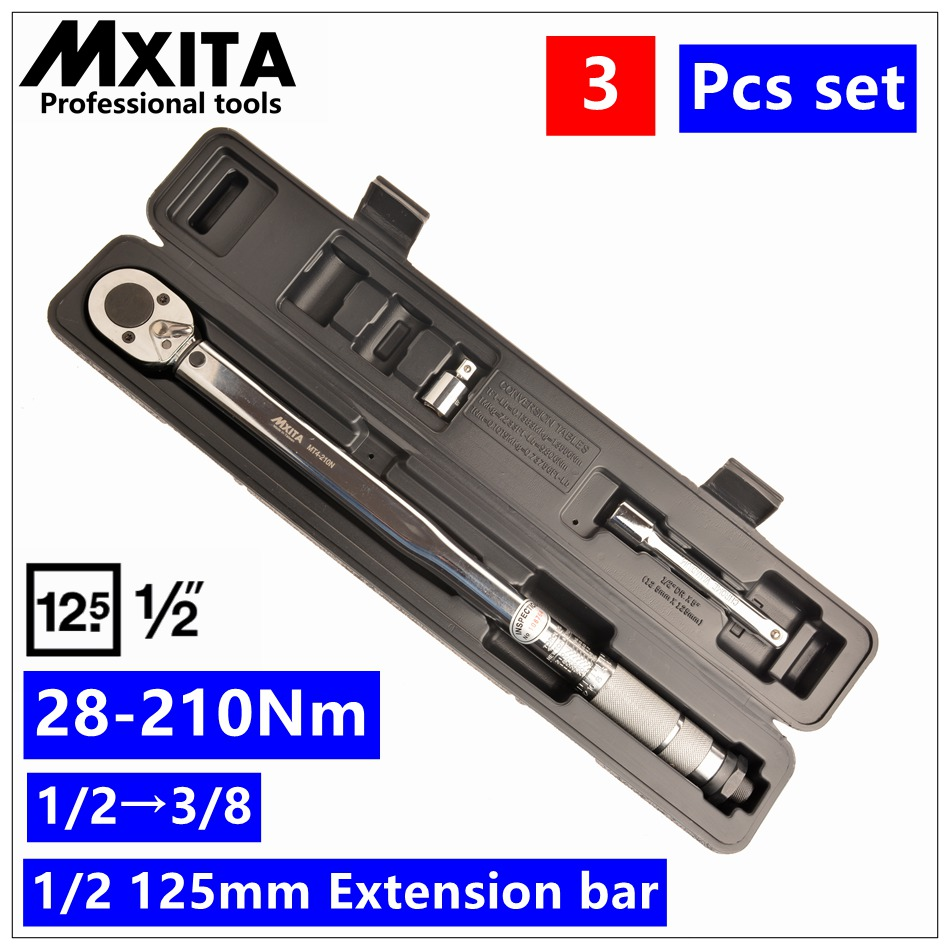 3PCS 1/2 Driver Click Adjustable Micrometer Torque Wrench 28-210Nm Hand Tool Spanner High Quality mxita 1 2 5 60n adjustable torque wrench hand spanner car wrench tool hand tool set