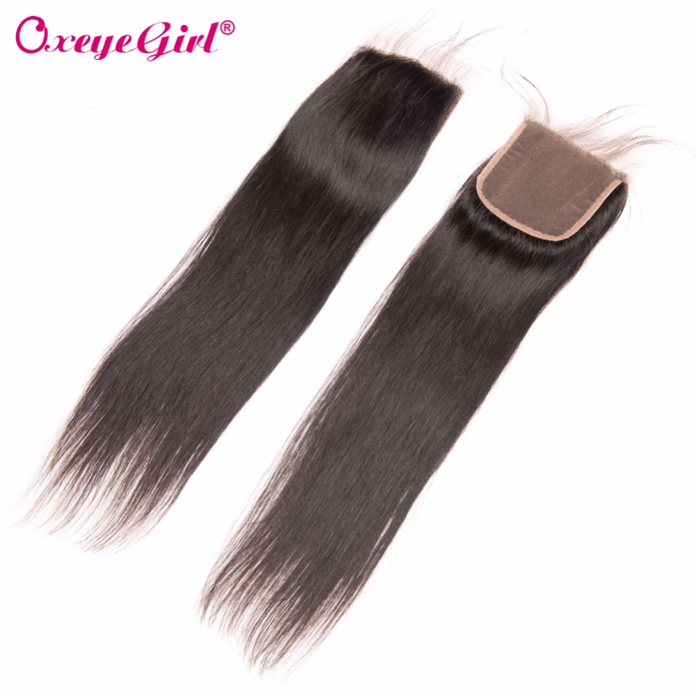 4x4 Lace Closure Brazilian Hair Straight Hair Bundles Remy - Menneskehår (sort) - Foto 1