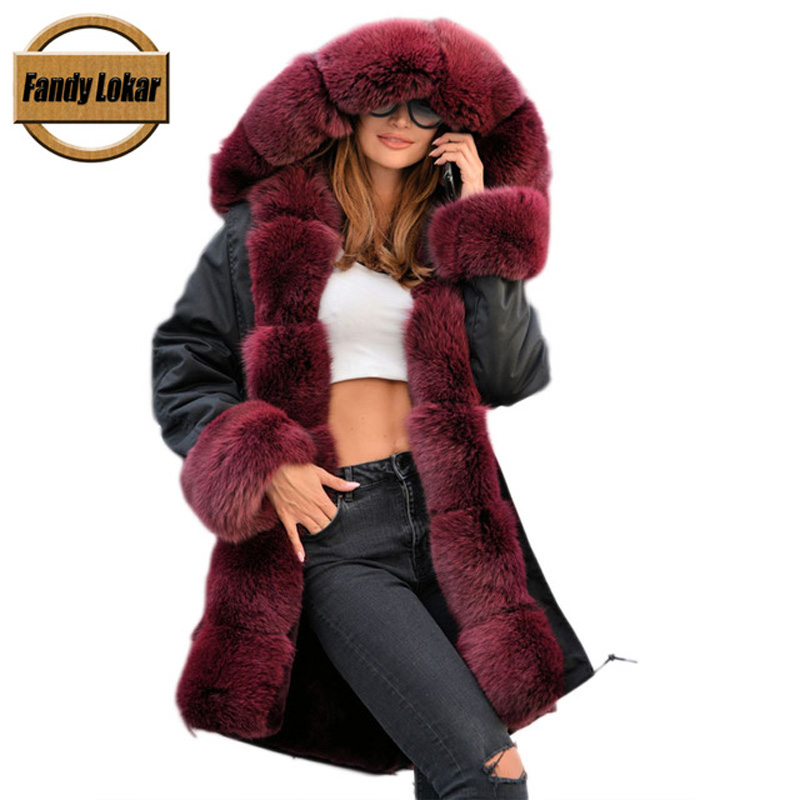 Fandy Lokar Real Fur Coat Detached Lining Natural Rex Rabbit Fur Parka Real Fox Fur Black Jacket winter coat Long Fur Coat Women 2017 winter new clothes to overcome the coat of women in the long reed rabbit hair fur fur coat fox raccoon fur collar