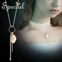 The SPECIAL New Fashion western ocean seriesmulti-layer necklace pendant lace choker conch dream amusement park  French