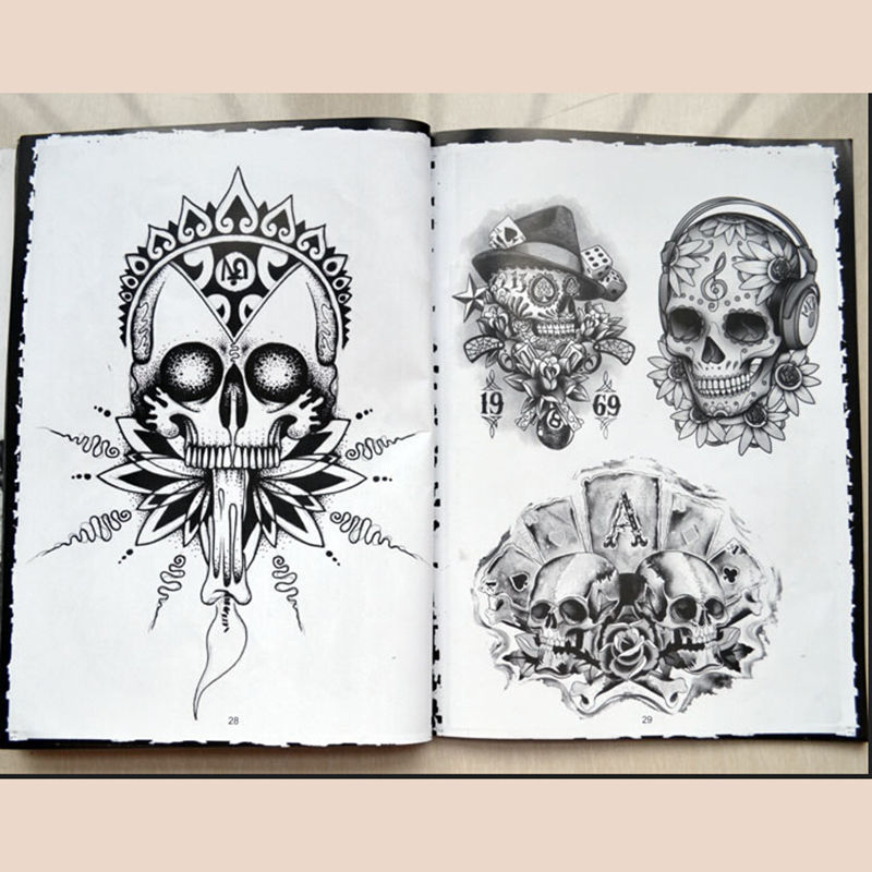76 Pages Selected Skull Tattoo Books Design A4 Sketch Flash Book ...