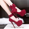 ГОРЯЧАЯ 2016 Новая Мода Большой Лук Свадьба Обувь Женская Высокие Каблуки Сексуальные Peep Toe Нагнетает Ботинки