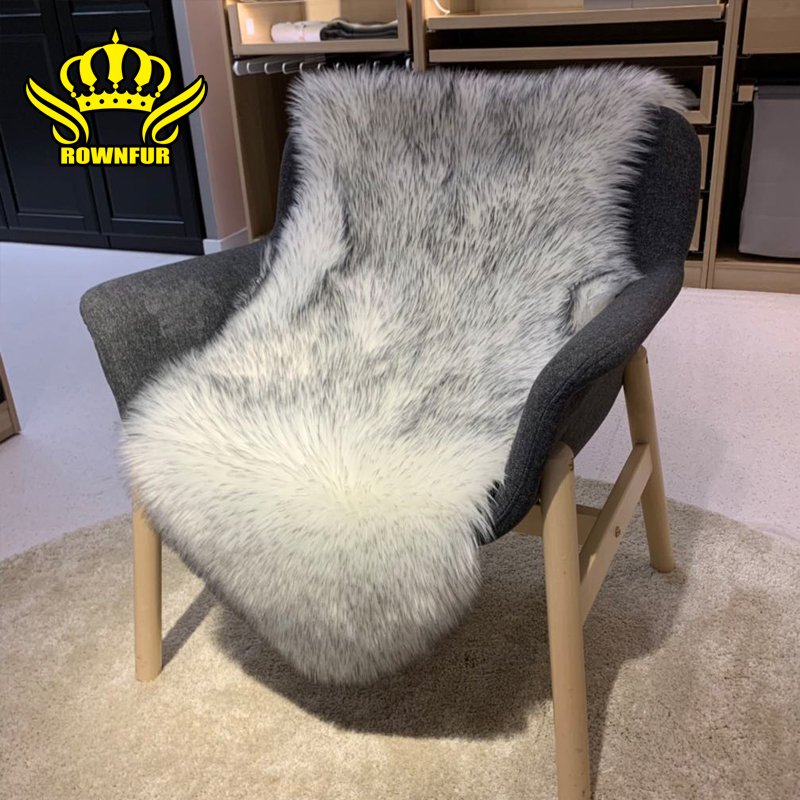 ROWNFUR Shaggy Carpet For Living Room Home Bath Chair Cover  Modern Fluffy Mats Kids Room Mats Silky Washable Faux Fur Area Rug