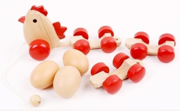 Envío libre, juguetes educativos para niños, juguetes de madera, arrastre de huevo de gallina huevo de tren, simulación, motocultor
