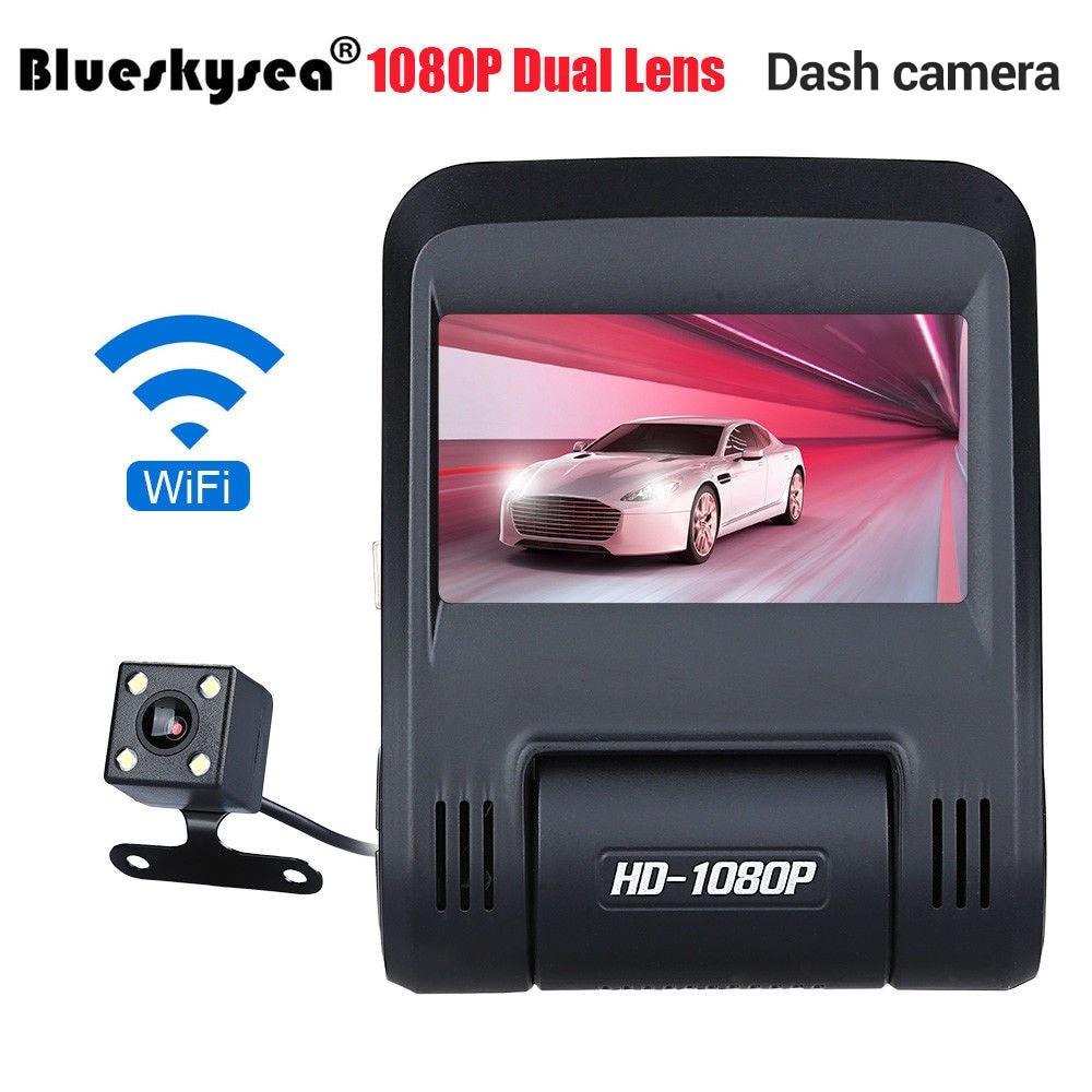 Blueskysea 2.45 Dual Lens HD 1080P WIFI Vehical Car DVR Dash Camera Video Recorder Dash cam G-sensor Night Vision WDR 30FPS