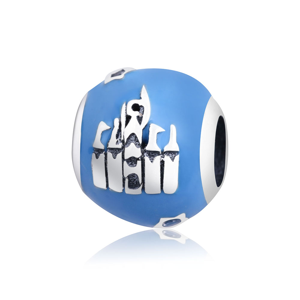 Fits Original Pandora Charm Bracelet Jewelry Making 2018 Newest 925 Sterling Silver Castle House Charms Beads With Blue Enamel