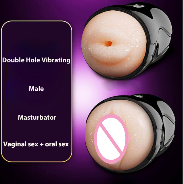 Double Hole Real Vagina Pocket Pussy Vibrating Male Masturbator Mouth Tongue Sucking Oral Sex Masturbation Cup Toy for Men 6