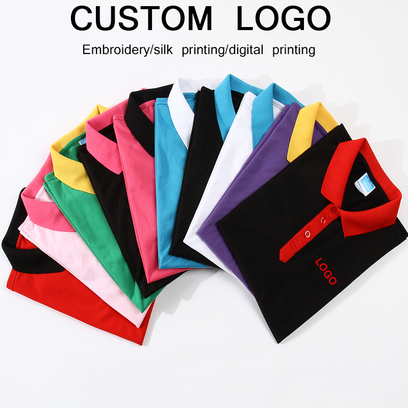Custom logo embroidery   polo   shirt company work uniform printing text or diy photos