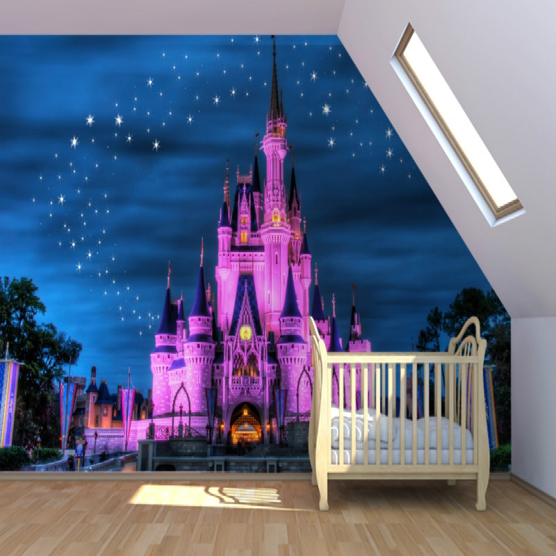 Buy mural fairytale castle mural 3d for Castle mural kids room