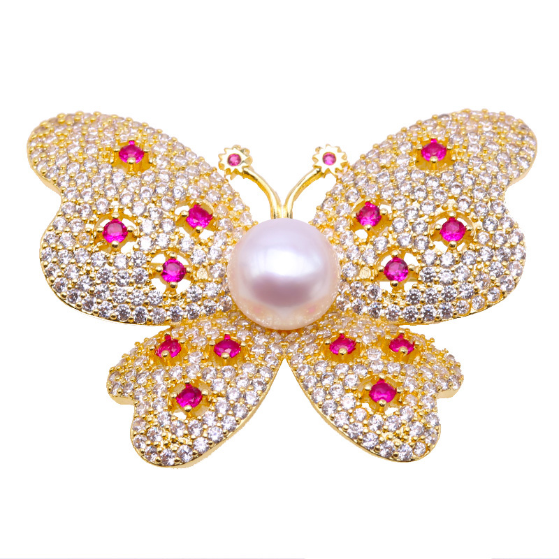 JYX two ways delicate 10mm White Round Freshwater Pearl Brooch, classic butterfly for party best gift платье женское la via estelar цвет бежевый 14007 размер 48