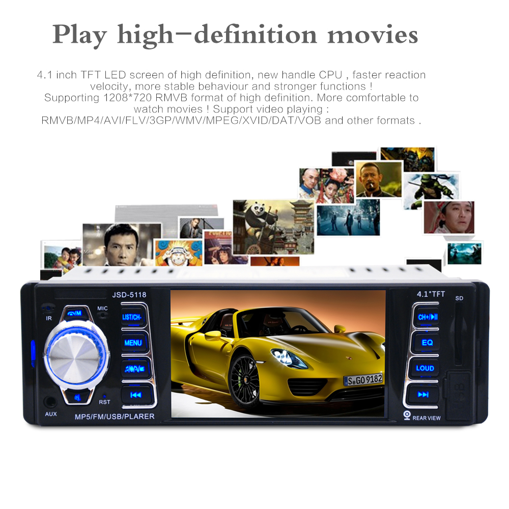 5118 DC12V 4.1 pollici 50 w x 4CH Bluetooth 1 DIN Auto In-Dash Audio Stereo FM Ricevitore USB MP5 Radio Player Con USB/SD/AUX