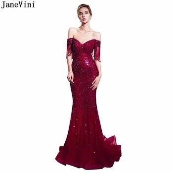 d91a47aa628 JaneVini 2019 Sparkle lentejuelas Borgoña vestido de dama de honor cuello V  lujo con cuentas borla