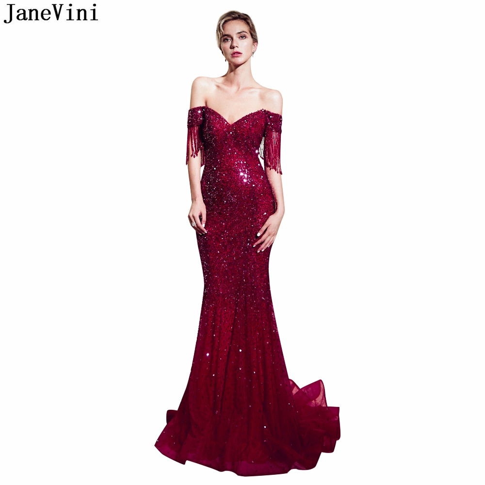 JaneVini 2019 Sparkle Sequined Burgundy   Bridesmaid     Dress   V Neck Luxury Beaded Tassel Backless Sexy Dubai Long Mermaid Prom Gowns