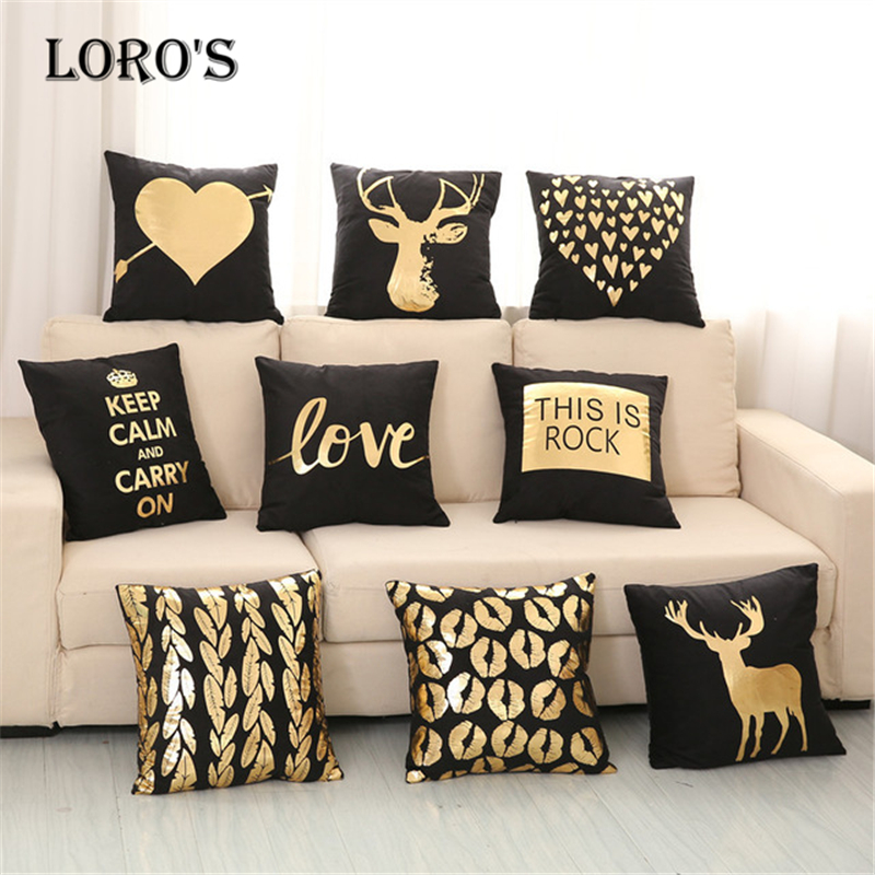 Black Gold Deer Love Lips Printing Pillowcase Cover Soft Velvet Comfortable Pillow Personality Office Bedroom Home Decorative