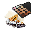 11pcs Powder Foundation Blusher Bamboo Cosmetic Brushes + 15 Colors Contour Face Cream Makeup Concealer Palette Make Up Kits Set