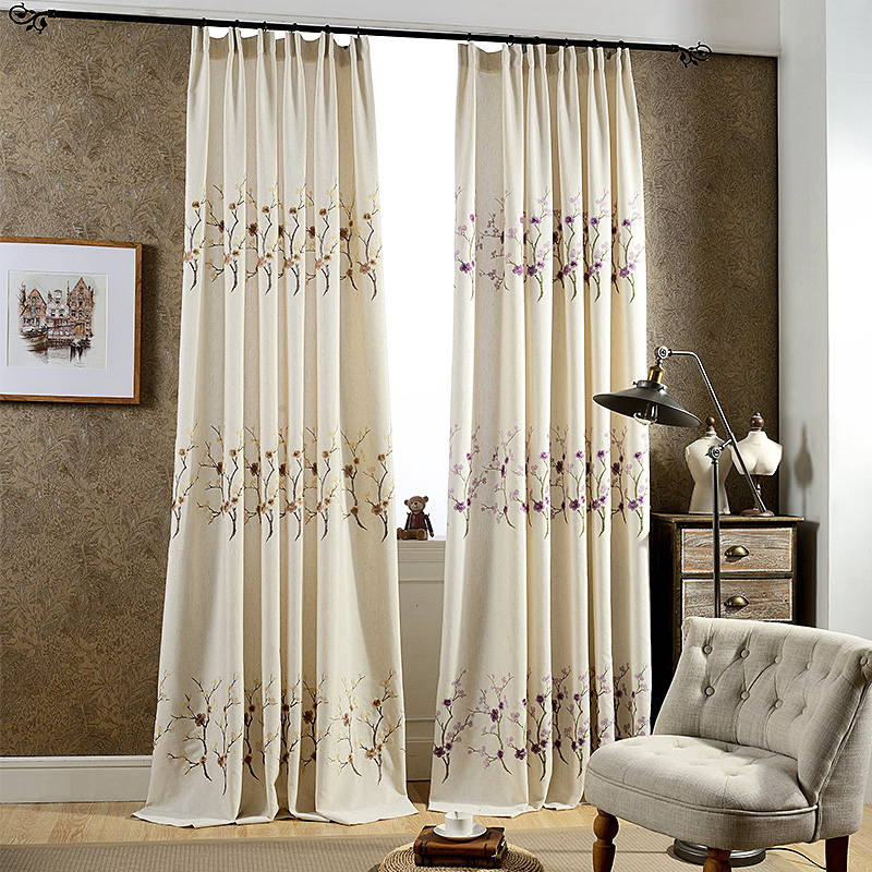 2017 American Cotton Hemp Plum Blossom Curtains Living