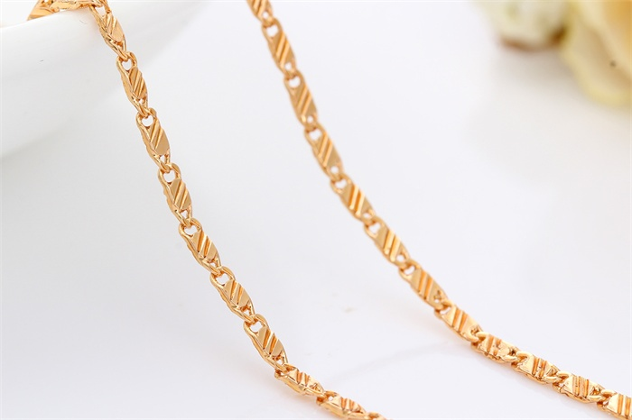 Yellow Gold Colour Tile Chain Shoker Choker Necklace For Women
