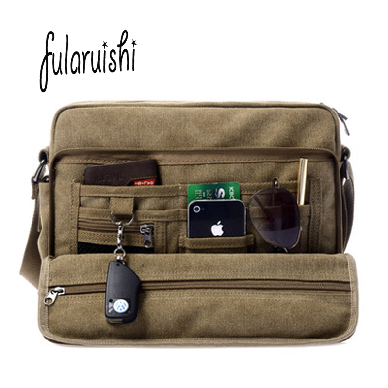FULARUISHI Retro Men Shoulder Bag Business Canvas Messenger Bags For Man Tote Handbags Casual Travel bag vintage Man bag WH337 vintage crossbody bag dark khaki canvas shoulder bags men messenger bag man casual handbag tote business briefcase for computer