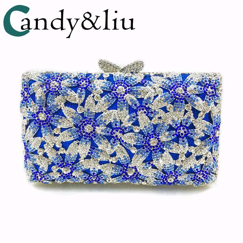 European and American boutique flower water drill dinner banquet evening bag in hand fashion pack luxury day clutches luxury classic european and american wind drill bag dinner banquet evening dress lady hand bag bride wedding day clutches