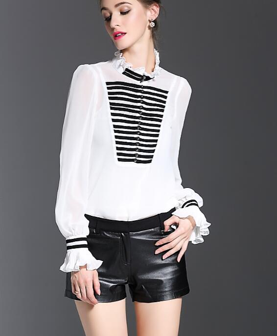 De estilo barroco de la moda más tamaño 2017 mujeres del otoño del resorte blanco con volantes manga farol blusa de seda camisa de trabajo informal 8299