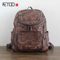 AETOO The New Planted Tannage Retro Leather Handmade Hand Wiping Weaving Pattern Leather Layer Backpack Europe
