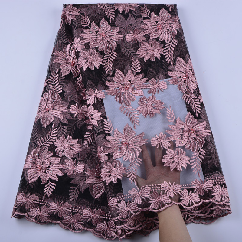 African Lace Fabric 2018 High Quality Leaves Nigerian Lace
