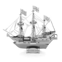 Golden Hind Sea Rover Pirate Ship Adult DIY Education 3D Puzzle Mental Alloy Handmade Puzzles Com