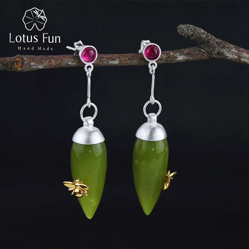 Lotus Fun réel 925 argent Sterling pierre naturelle Original fait à la main bijoux fins Vintage élégant boucles d'oreilles pour les femmes Brincos
