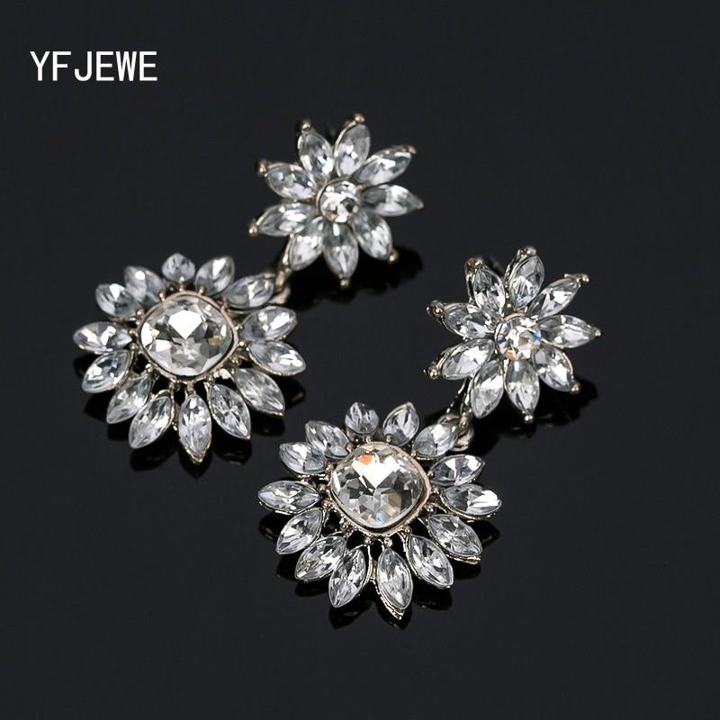 YFJEWE Big Long Crystal Drop Earrings For Women Vintage Flower Silver Plated Bride Earrings Wedding Jewelry Accessories #E128