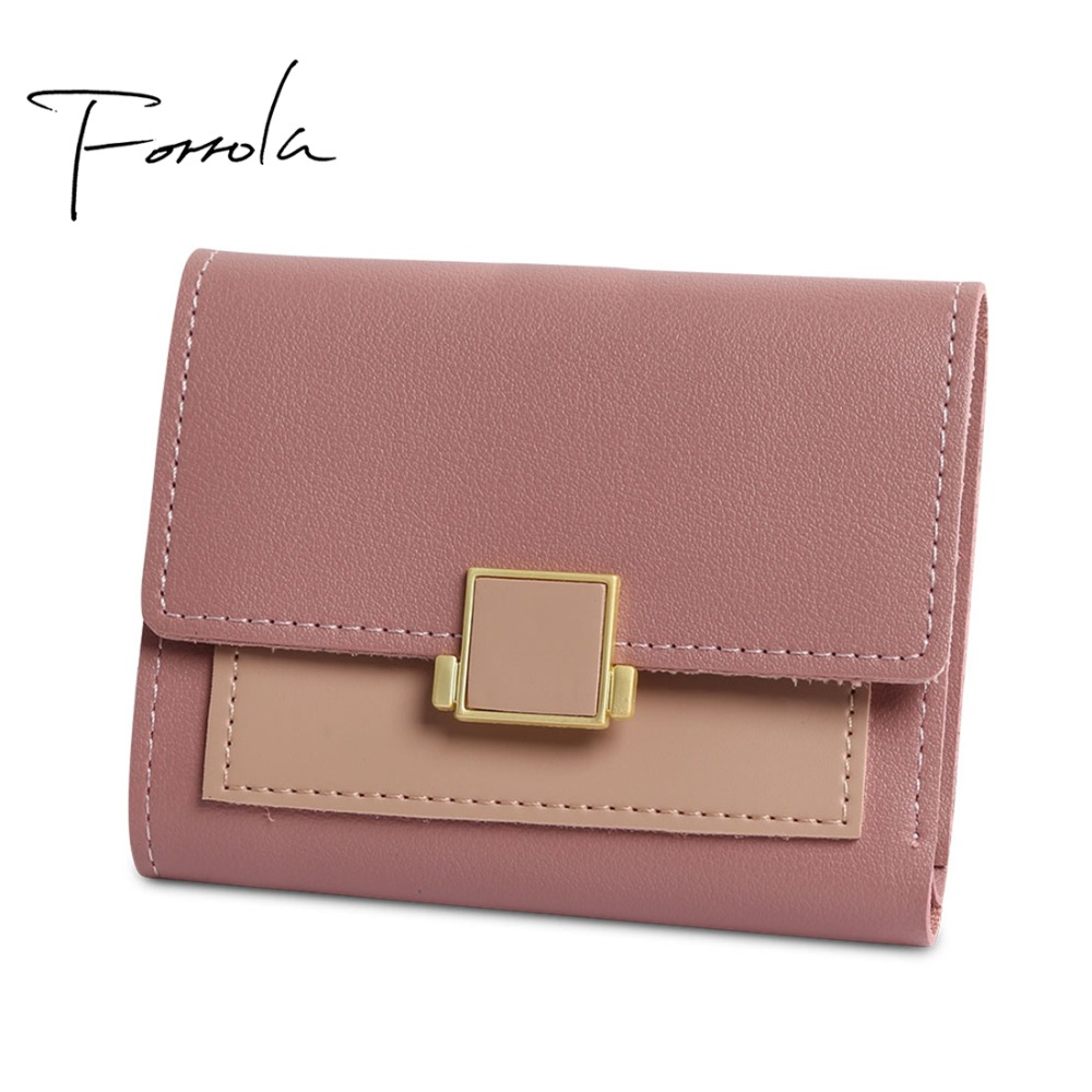 5 Colors Women Unique Lock Hasp Small Wallet Fashion Short PU Leather Coin Purses Card Holders Girls Patchwork Money Personality