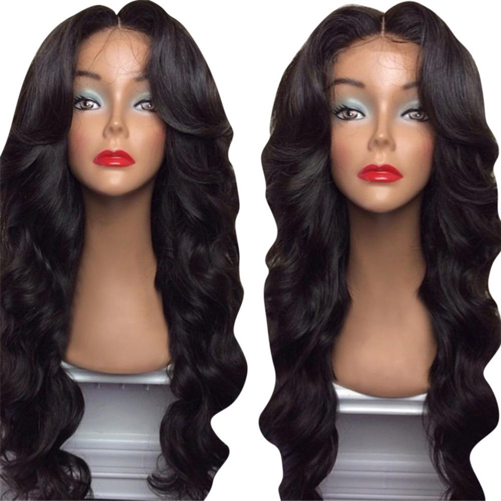 Hair Care Wig Stands High Temperature Fiber Wig Black Long Curly Wavy Hair Parting Machine Made Rose Net Wigs Dec26