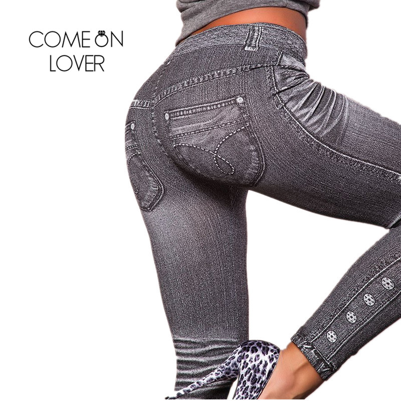 Comeonlover Work Out Leggings Šedý módní styl Demin Legging Žena Legíny Trendy Super Deal Jean Typ Legging Jeans TI2418