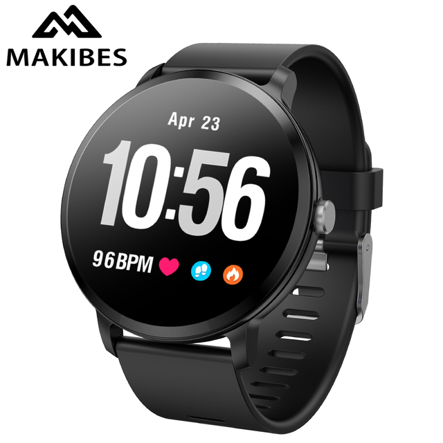 Makibes T4 Smart watch waterproof Bluetooth Tempered glass Fitness tracker Heart rate monitor Men's Women For IOS Huawei