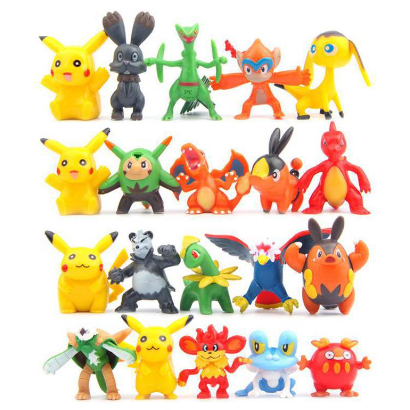 Mini Pikachu PVC Action Figure Toys Anime Pocket Monster figurine Doll Model Puppets For Gift 100pcs/lot Free Shipping-in Action & Toy Figures from Toys & Hobbies    1