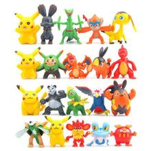 Mini Pikachu PVC Action Figure Toys Anime Pocket Monster figurine Doll Model Puppets For Gift 100pcs/lot Free Shipping