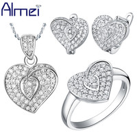AAA Cubic Zirconia White Gold Platinum Plated Fashion 925 Silver Necklace Ring Earrings Sets For Woman